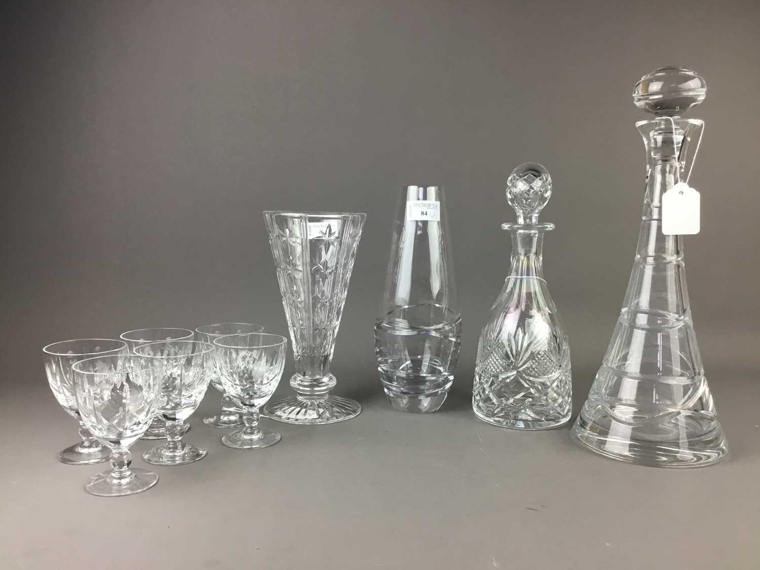 Lot A SET OF SIX ROYAL BRIERLEY CRYSTAL LIQUER GLASSES ALONG WITH TWO DECANTERS AND OTHER CRYSTAL WARE