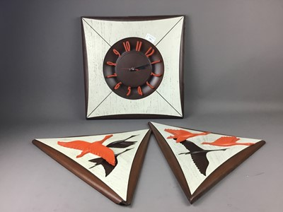 Lot A DECORATIVE WALL CLOCK AND TWO WALL HANGINGS