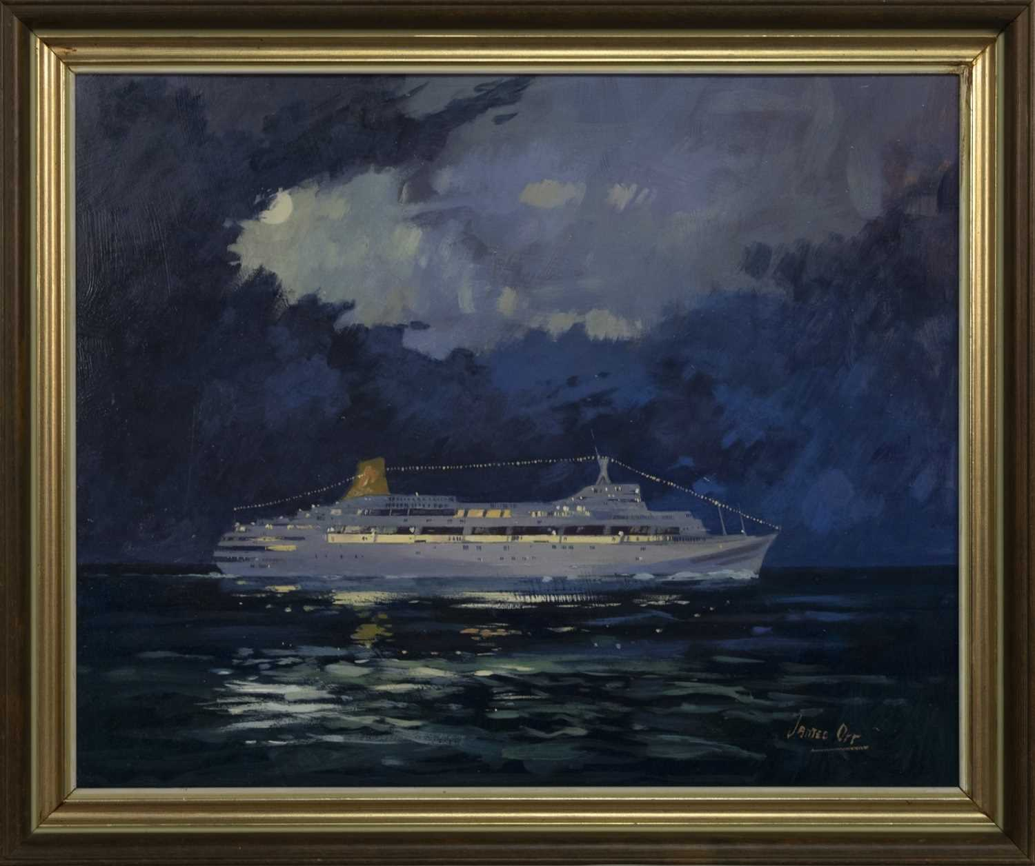 Lot 556 - THE LOVE BOAT, AN OIL BY JAMES ORR