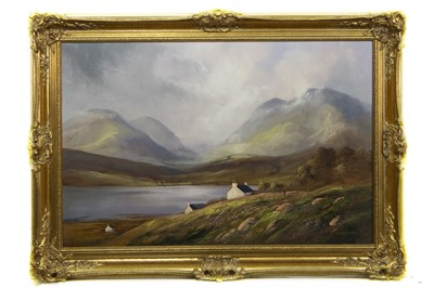 Lot 405 - HILLS OF HARRIS, OUTER HEBRIDES, AN OIL BY JACK MOULD