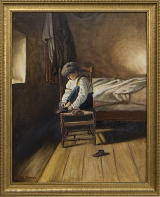 Lot 406 - ONE FOOT AT A TIME, AN OIL BY ROBERT MORRISH