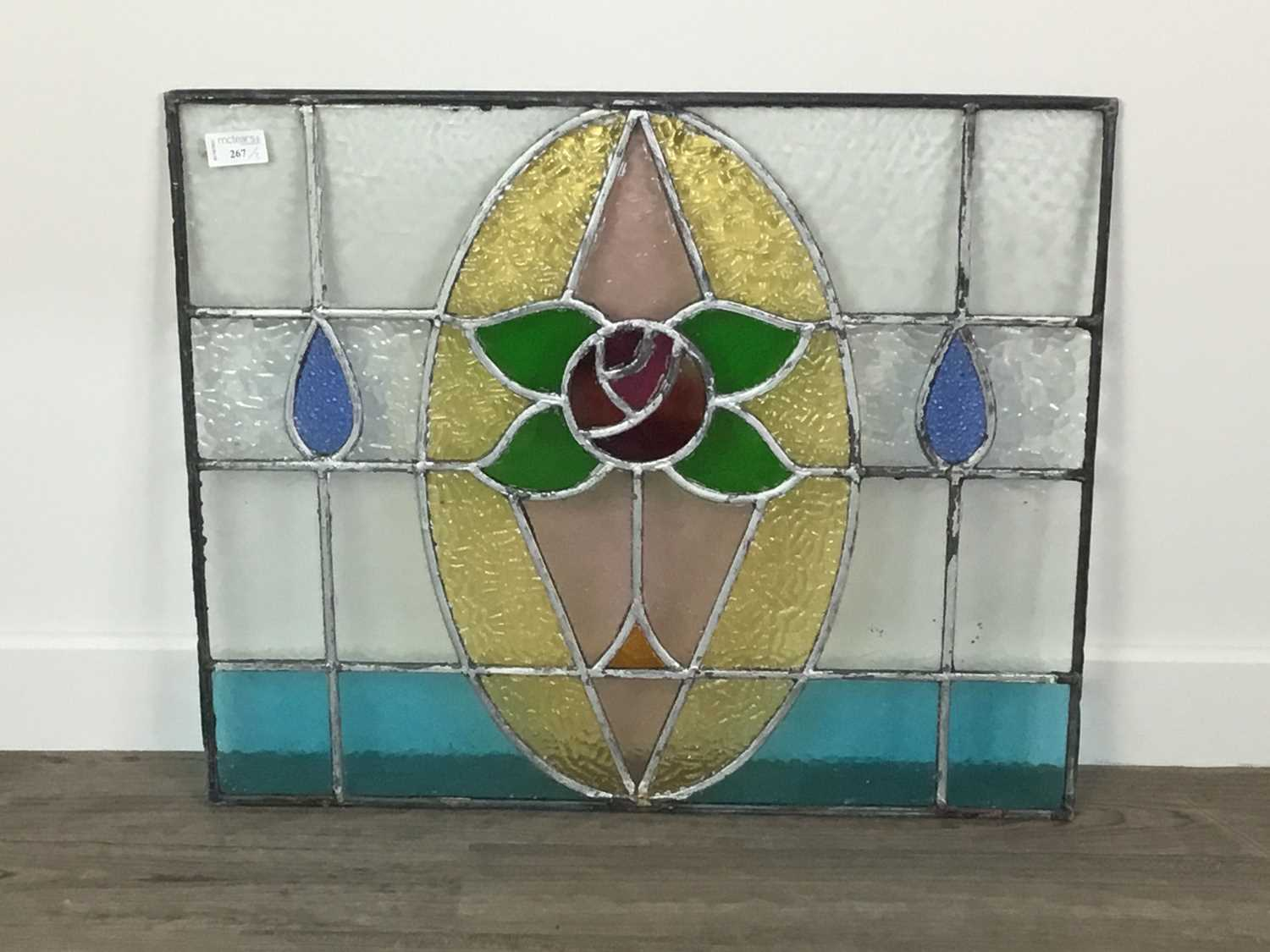 Lot AN EARLY 20TH CENTURY LEADED GLASS PANEL, ALONG WITH ANOTHER
