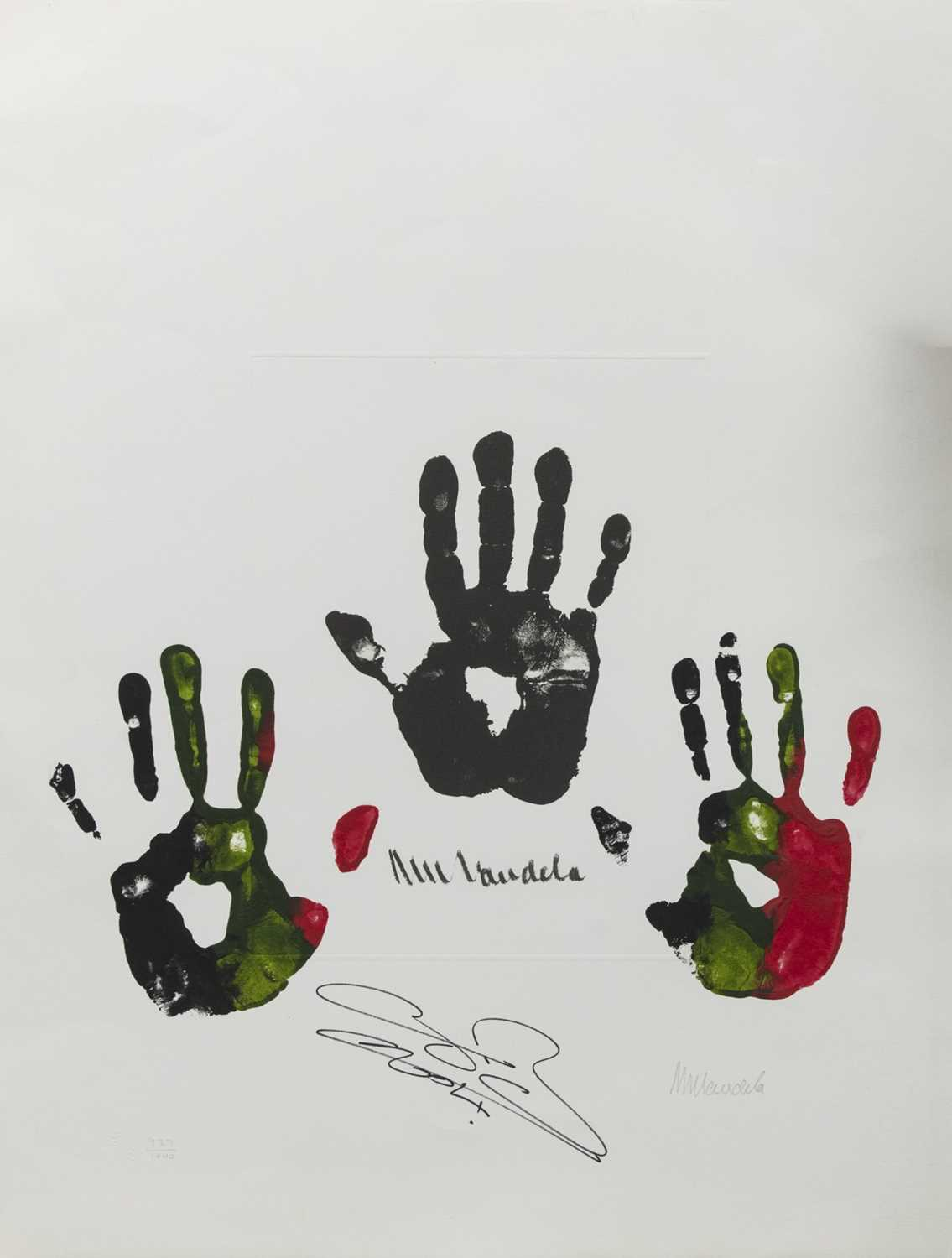 Lot 104 - HAND OF AFRICA, A LIMITED EDITION PRINT WITH ORIGINAL HANDPRINTS BY NELSON MANDELA