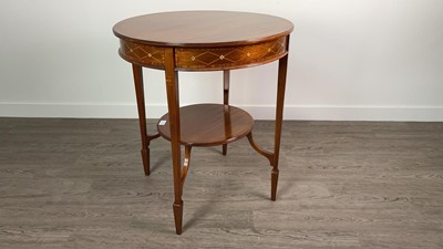 Lot 845 - AN EDWARDIAN INLAID MAHOGANY CIRCULAR TWO TIER OCCASIONAL TABLE