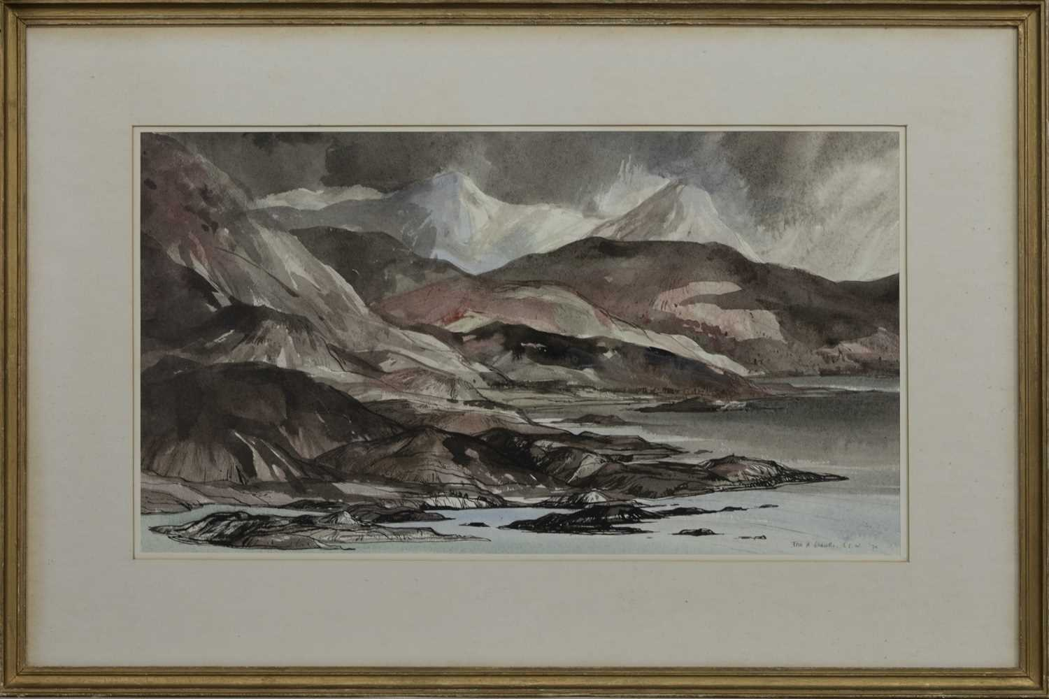 Lot 572 - MOUNTAINS OF KNOYDART, A WATERCOLOUR BY TOM SHANKS