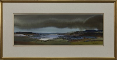 Lot 628 - STORM OVER ARISAIG, A WATERCOLOUR BY TOM SHANKS