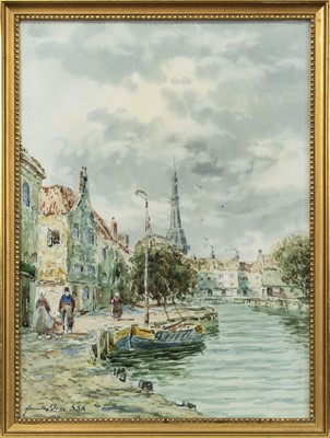 Lot 415 - CANAL SCENES, A PAIR OF WATERCOLOUR BY JOHN HAMILTON GLASS