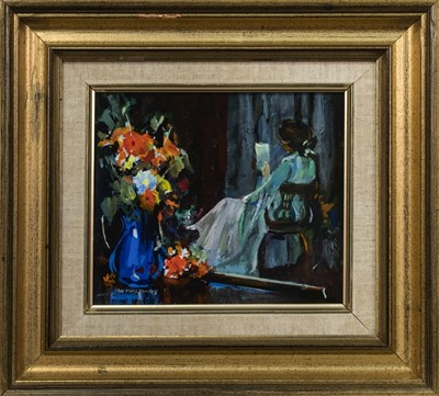 Lot 416 - STILL LIFE WITH WOMAN, AN OIL BY IAN MCILHENNY