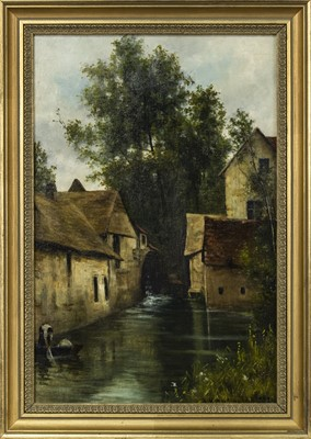 Lot 418 - WATER MILLS, SURREY, AN OIL BY A M MACDONALD
