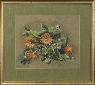 Lot 420 - MARIGOLDS, A PASTEL BY MONICA BERLEY