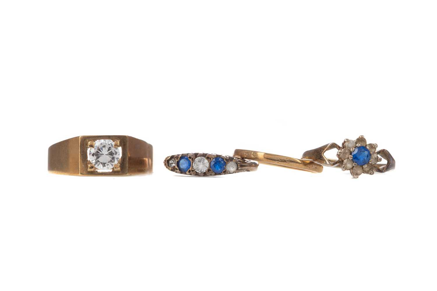 Lot 329 - TWO GOLD RINGS AND TWO SILVER RINGS