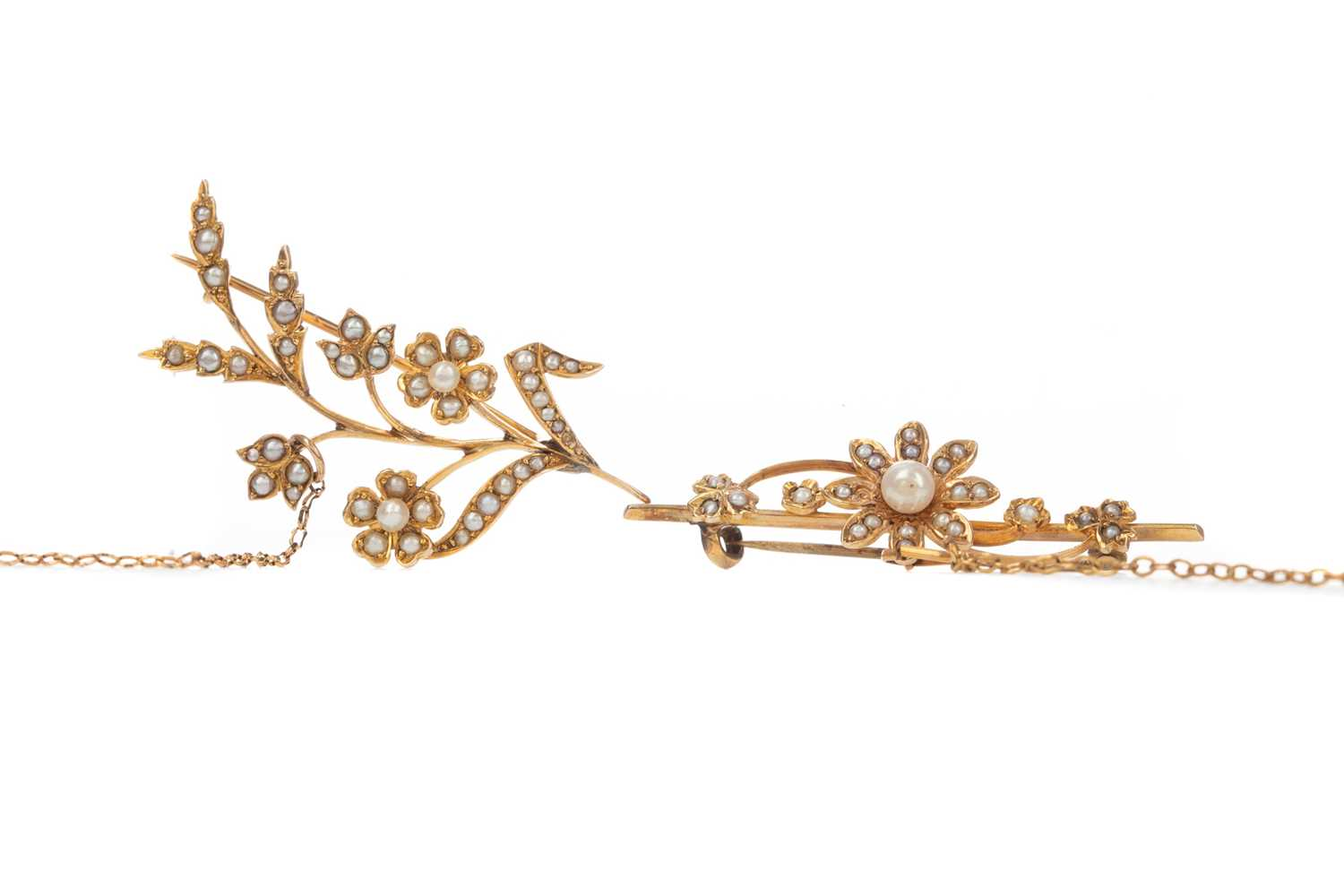 Lot 331 - TWO SEED PEARL BAR BROOCHES