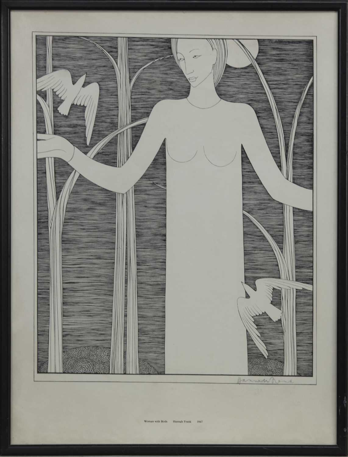 Lot 578 - WOMAN WITH BIRDS, A LITHOGRAPH BY HANNAH FRANK