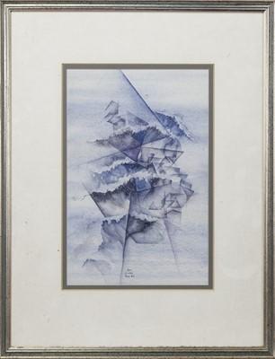 Lot 425 - GEOMETRIC FORMS, A WATERCOLOUR BY J K CLARK