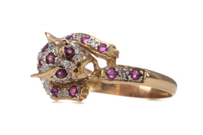 Lot 345 - A RUBY AND DIAMOND PANTHER RING