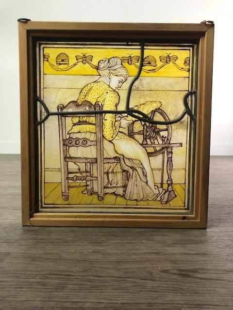 Lot A PAINTED AND LEADED GLASS PANEL