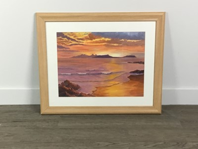 Lot 37 - AN ACRYLIC OF 'SUNSET OVER RUM AND EIGG', ALONG WITH TWO OTHERS
