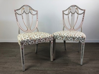 Lot A PAIR OF PAINTED HEPPLEWHITE SIDE CHAIRS