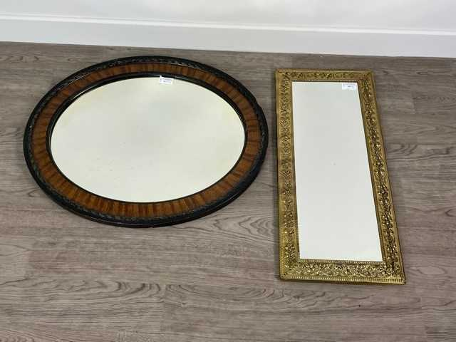 Lot A BRASS EMBOSSED RECTANGULAR WALL MIRROR AND ANOTHER WALL MIRROR