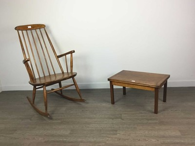 Lot AN ERCOL STYLE ROCKING CHAIR AND SMALL CARD TABLE
