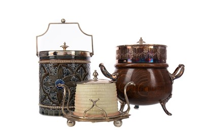 Lot 565 - A DOULTON LAMBETH BISCUIT BARREL, ALONG WITH ANOTHER AND A HONEY POT