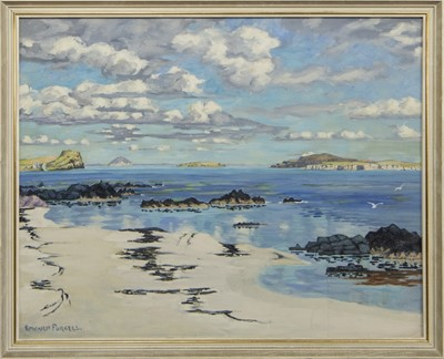 Lot 436 - SCOTTISH SHORE, AN OIL BY EDWARD PURSELL