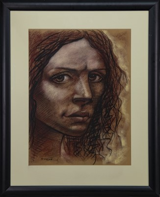 Lot 592 - MY DAUGHTER FRANCES IN 10 YEARS, A PASTEL BY FRANK MCFADDEN