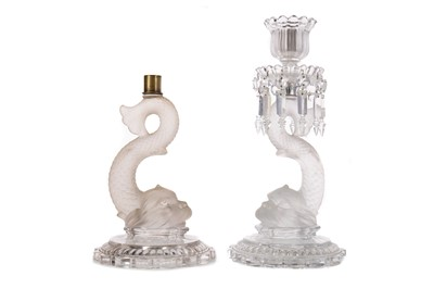 Lot 1125 - A PAIR OF BACCARAT CANDLESTICKS