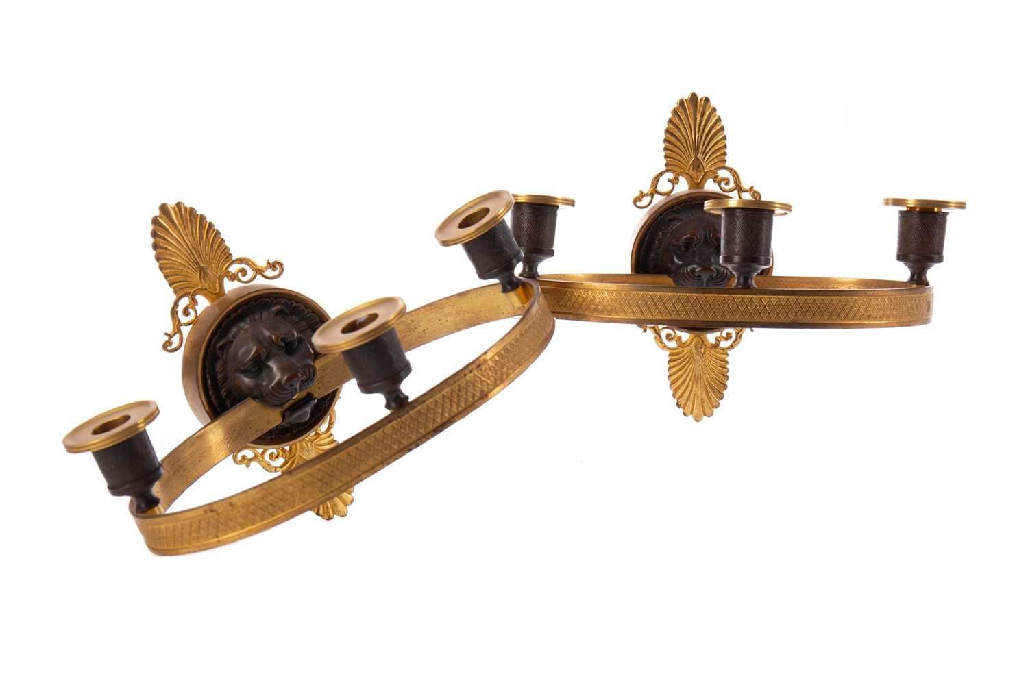 Lot 1311 - A PAIR OF 19TH CENTURY FRENCH EMPIRE BRONZE AND ORMOLU WALL SCONCES