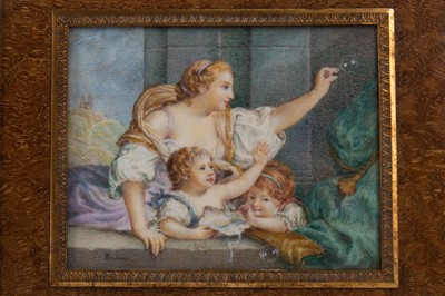 Lot 1304 - A PORTRAIT MINIATURE OF A MOTHER AND CHILD