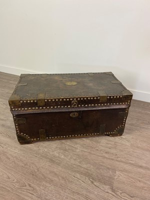 Lot 1316 - A 19TH CENTURY LEATHER BOUND COACHING TRUNK