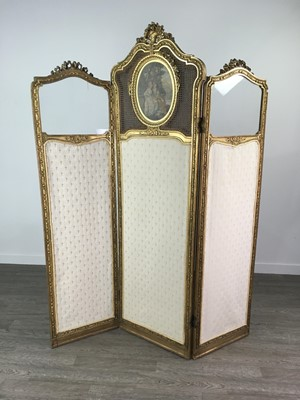 Lot 1332 - A 19TH CENTURY FRENCH GILTWOOD BOUDOIR SCREEN