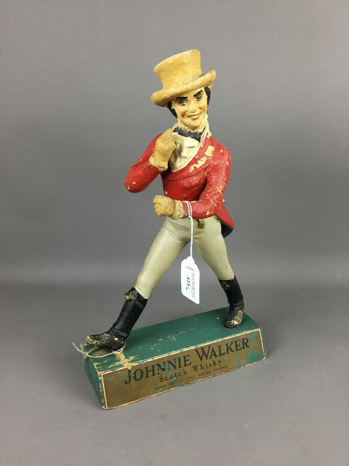 Lot 425 - A JOHNNIE WALKER ADVERTISEMENT FIGURE ALONG WITH A SIGNAL REGISTER COVER