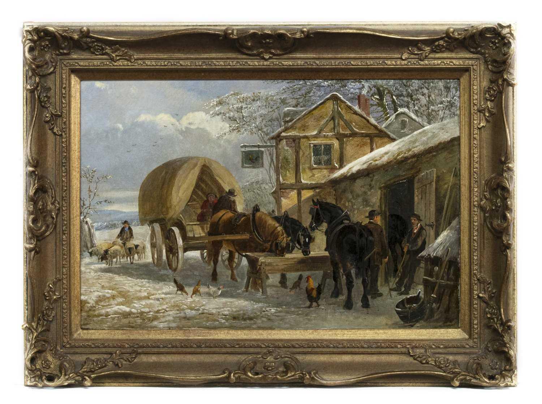 Lot 79 - HORSES IN WINTER, AN OIL BY H C WOOLETT