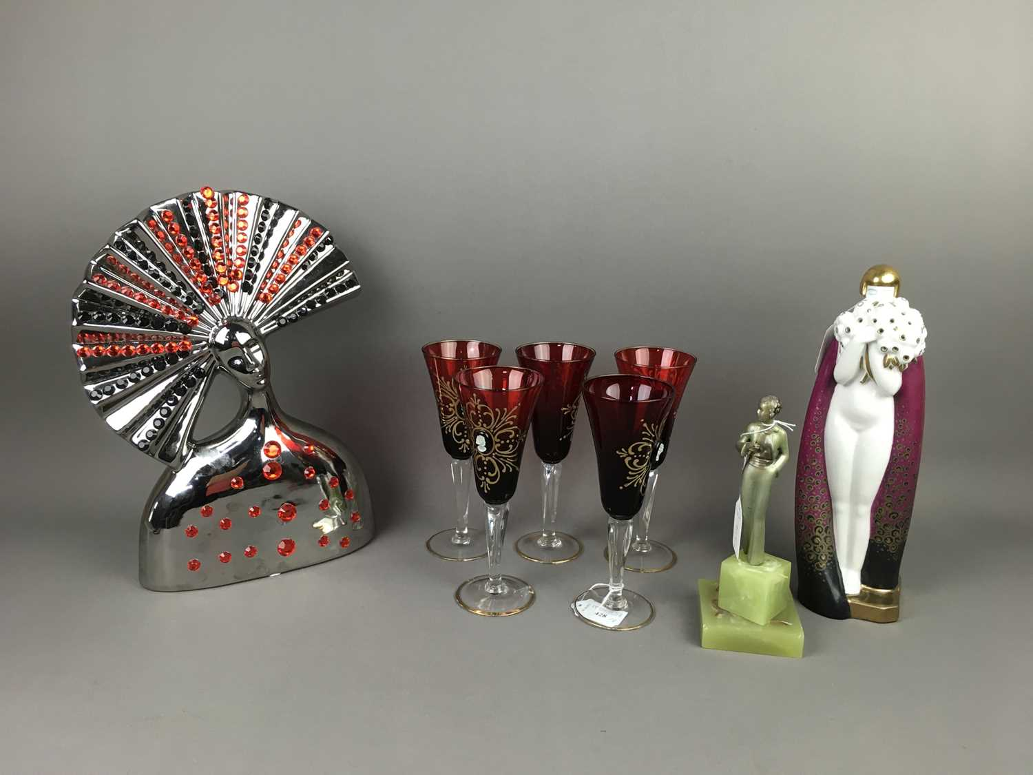 Lot 428 - AN ART DECO PORCELAIN FIGURE OF A FEMALE ALONG WITH OTHER ITEMS