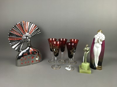 Lot AN ART DECO PORCELAIN FIGURE OF A FEMALE ALONG WITH OTHER ITEMS