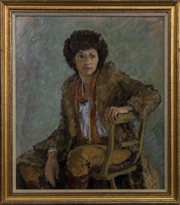 Lot 608 - PORTRAIT OF A LADY, AN OIL BY ANTHONY BAYNES