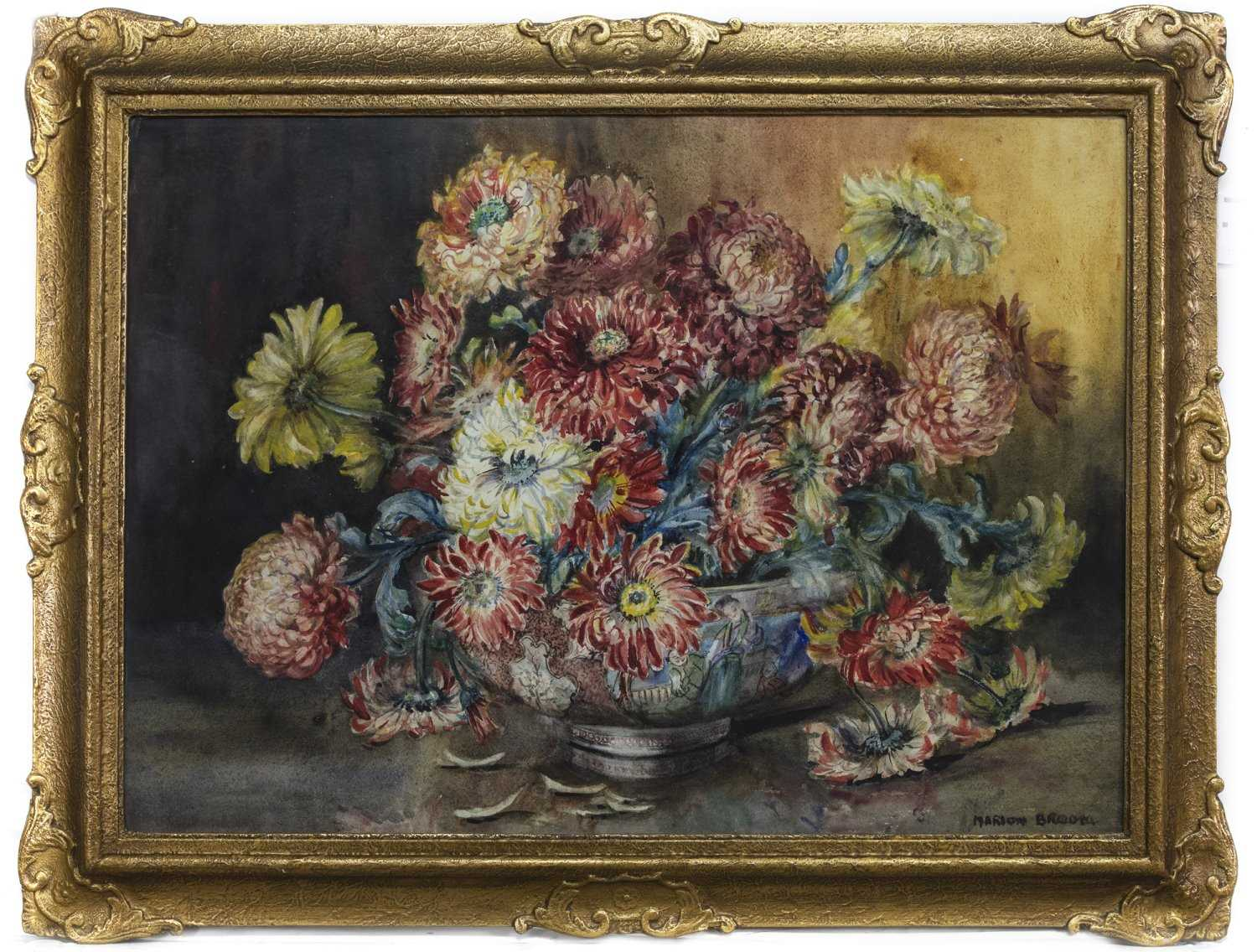 Lot 83 - STILL LIFE WITH FALLEN PETALS, A WATERCOLOUR BY MARION BROOM