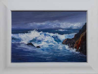 Lot 619 - PASSING STORM, AN ACRYLIC BY SANDIE YOUNGSTON