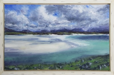 Lot 623 - UIG FROM CROWLISTA (ISLE OF LEWIS), AN OIL BY JONATHAN SHEARER