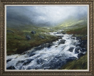 Lot 621 - HIGHLAND RIVER IN SPATE, ASSYNT, AN OIL BY JONATHAN SHEARER