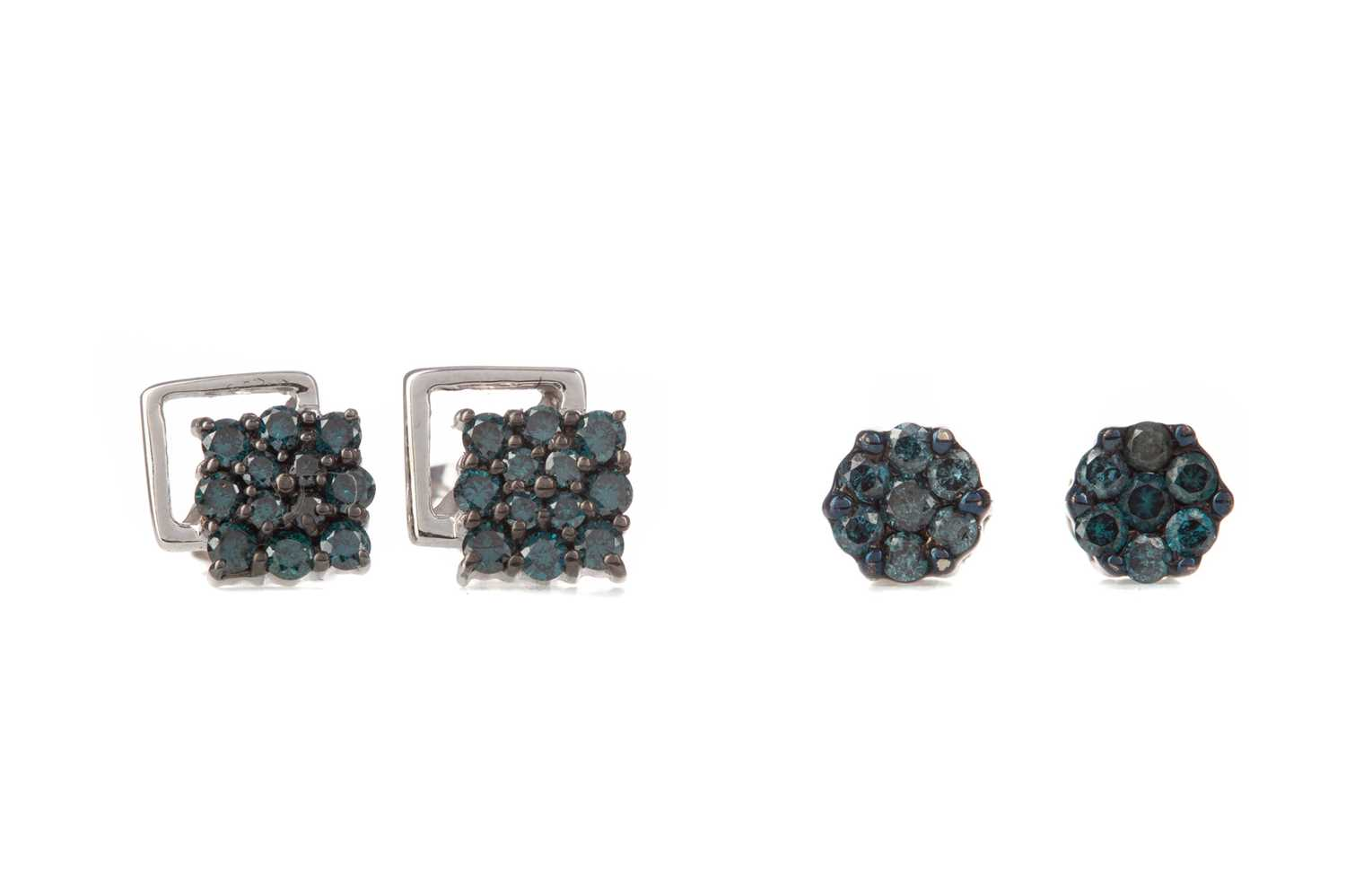 Lot 347 - TWO PAIRS OF TREATED BLUE DIAMOND EARRINGS