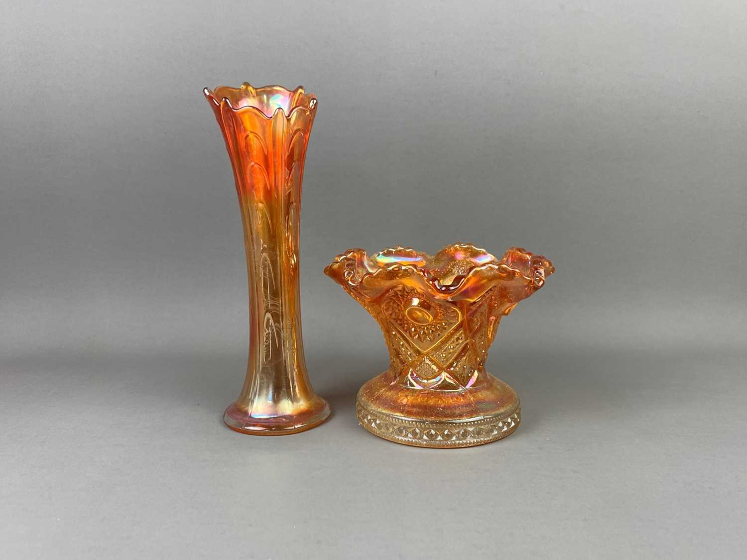 Lot A PAIR OF CARNIVAL GLASS VASES AND OTHER CARNIVAL GLASS
