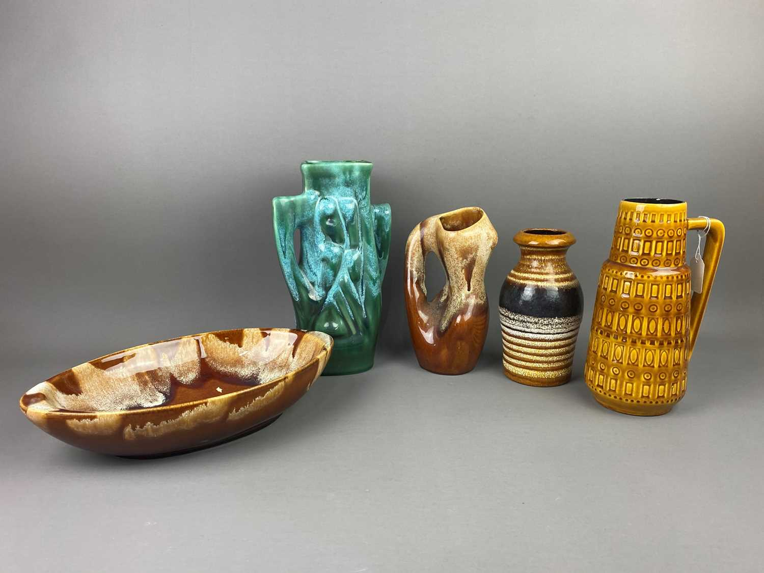 Lot A LOT OF TWO WEST GERMAN VASES, TWO OTHER VASES AND A BOWL