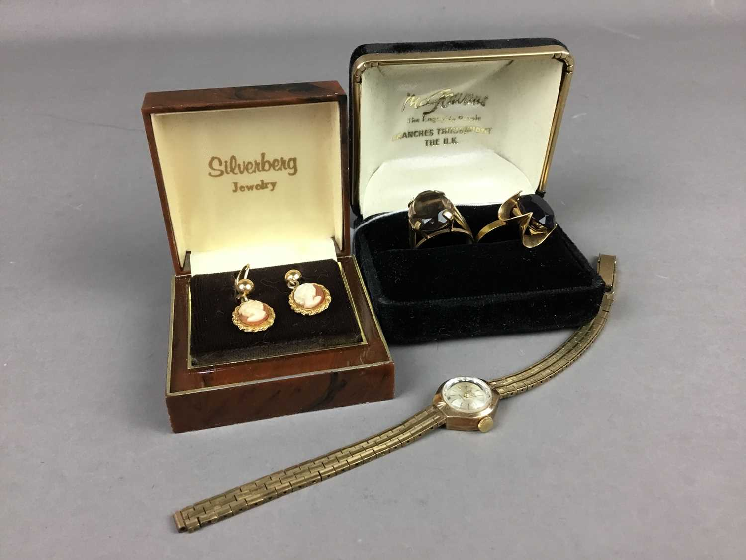 Lot 40 - A LOT OF TWO NINE CARAT GOLD RINGS, LADY'S BENTIMA WRIST WATCH AND PAIR OF CAMEO EARRINGS