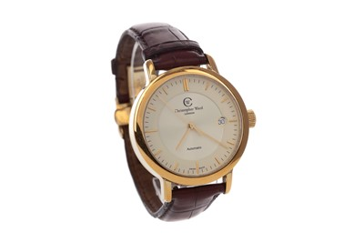 Lot 720 - A GENTLEMAN'S CHRISTOPHER WARD GOLD PLATED AUTOMATIC WRIST WATCH
