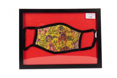 """Lot 1306 - A GRAYSON PERRY """"WE SHALL CATCH IT ON THE BEACHES"""" FACE COVERING"""