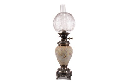 Lot 1310 - A VICTORIAN SILVER PLATE AND PORCELAIN OIL LAMP