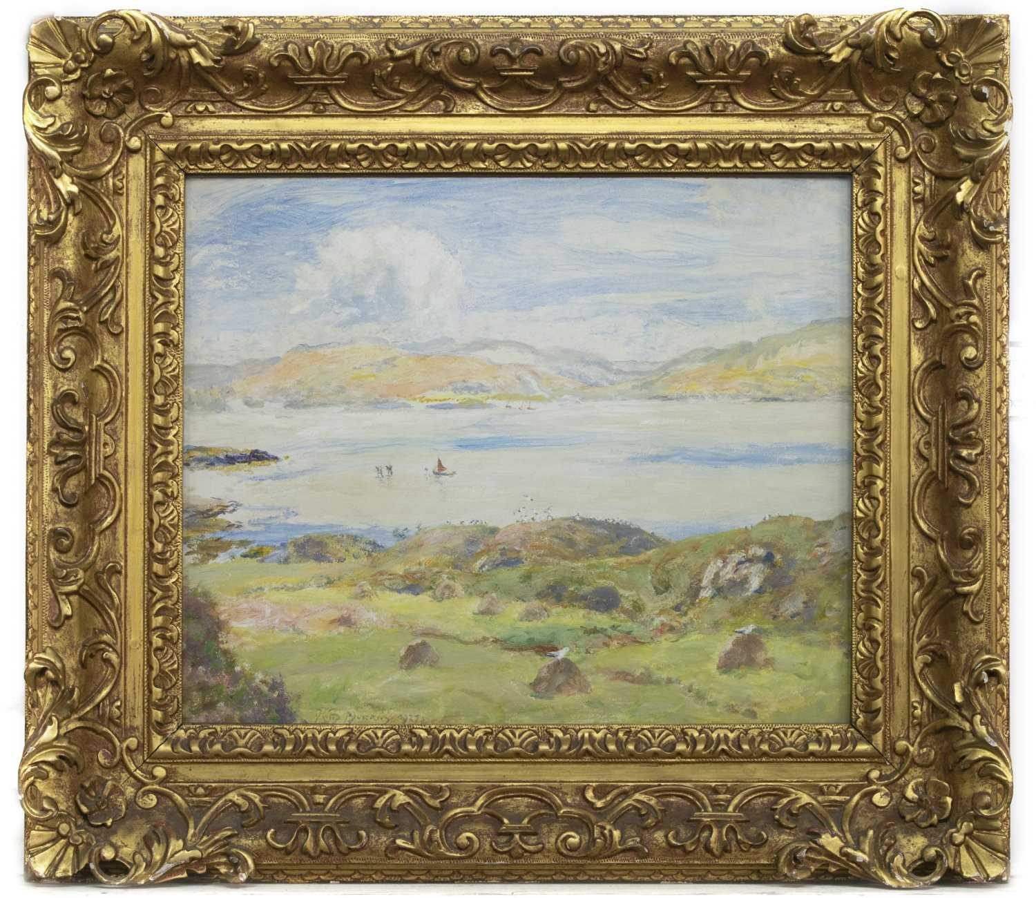 Lot 89 - THE WHITE SANDS OF MORAR, AN OIL BY SIR DAVID MURRAY