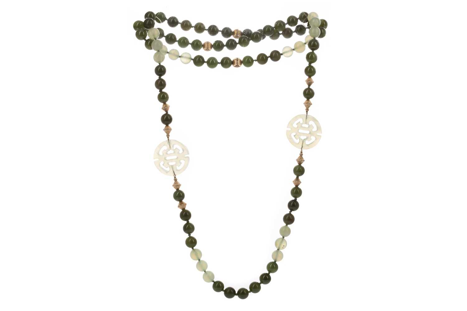 Lot 357 - GREEN HARDSTONE NECKLACE